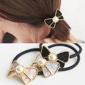 【NiNi Me】 韓系髮飾 氣質甜美閃亮蝴蝶結珍珠髮束 髮束 H9269