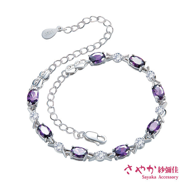 手鍊 925純銀 神秘的國度925純銀紫鑽手環 施華洛世奇水鑽 【日本飾品-Sayaka】