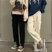 秋冬新款韓版chic高腰牛仔褲女學生褲子鬆緊腰寬鬆工裝直筒褲  【PINK Q】