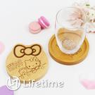 ﹝Kitty原木兩用杯墊﹞正版 杯墊 大臉 木質 圓形杯墊 木頭杯墊 凱蒂貓〖LifeTime一生流行館