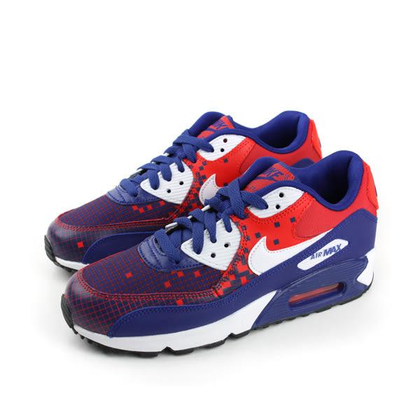 NIKE AIR MAX 90 PREM MESH 慢跑鞋 藍紅白 童鞋 大童 no294
