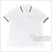 PRADA黑白橡膠LOGO紅黑條紋設計純棉短袖POLO衫(S/L/白)