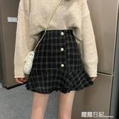 魚尾裙短裙冬2020新款韓版復古格子半身裙秋冬女高腰a字裙 露露日記