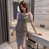 法式復古氣質中國風格子泡泡袖改良旗袍仙女裙森系桔梗夏季洋裝 米娜小鋪