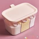 調味罐調料盒一體多格套裝家用組合裝放鹽味精廚房調味料收納盒調味瓶罐 愛丫