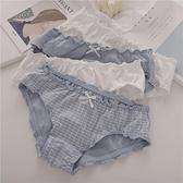 三角褲 4條純棉內褲女低腰木耳邊可愛簡約日系少女棉質透氣學生三角褲頭-Ballet朵朵
