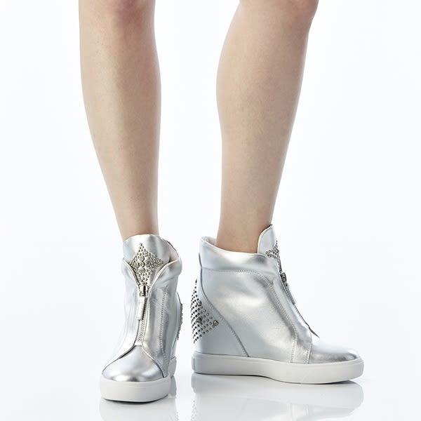 ★2015秋冬★Keeley Ann經典街頭~鑲珠個性造型真皮內增休閒鞋(銀色)-ANGEL系列