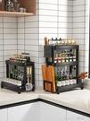 不銹鋼廚房置物架台面刀架家用調味料品多功能收納架子黑色調料架 樂活生活館