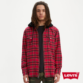 Levis 男款 法藍絨格紋連帽外套 / Thermolite 保暖科技 / 拉鍊穿脫