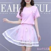 中大尺碼兩件式洋裝 花邊短袖連身裙夏季薄款時尚套裝裙子2019中長款 DR27158【Rose中大尺碼】