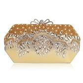 晚宴包-鏈條水晶鑽珍珠綢面蝴蝶結女手拿包6色73rk30【時尚巴黎】