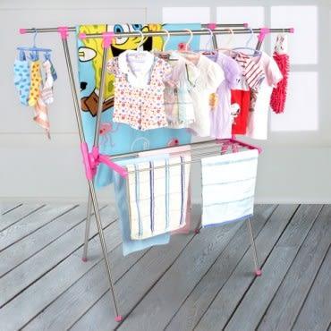 【LIFECODE】小太陽可伸縮X型曬衣架附毛巾架(桃紅色)