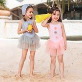 兒童泳衣女女童公主裙式時尚可愛女孩連體溫泉游泳衣