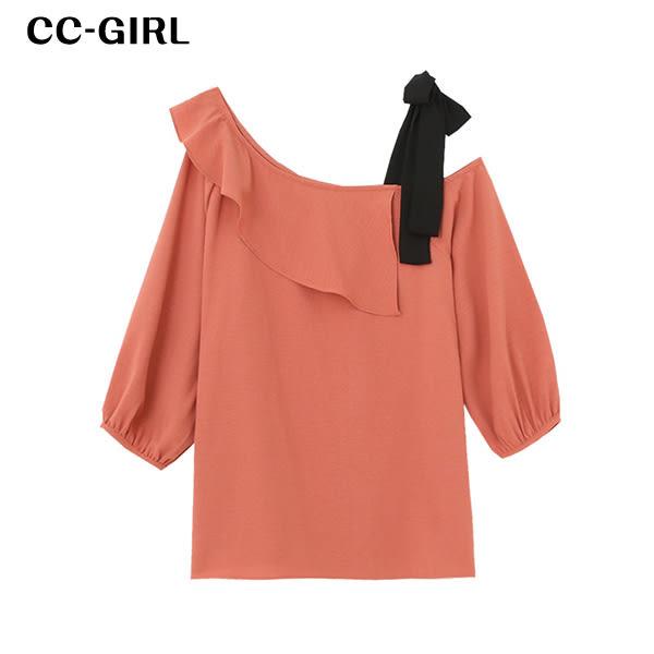 中大尺碼 氣質斜露肩綁帶上衣~共兩色 - 適XL~4L《 66086i 》CC-GIRL 新品