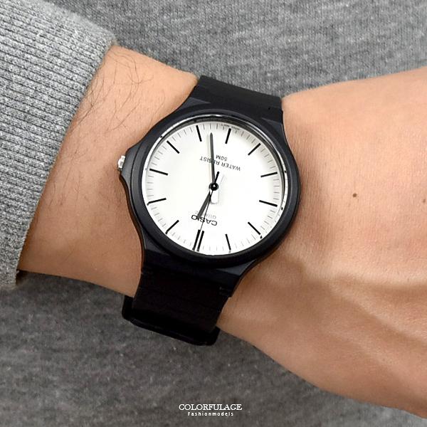 CASIO手錶 白面線條刻度膠錶NECH1