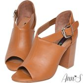 Ann'S打造激瘦體態-V口剪裁粗跟踝靴-棕