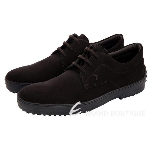 TOD'S 巧克力色麂皮綁帶休閒鞋(男) 1310409-C7