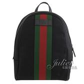 茱麗葉精品【全新現貨】GUCCI 630917 經典綠紅綠織帶緹花皮飾邊後背包.黑