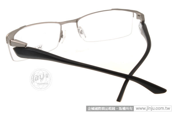 【金橘眼鏡】Vanessa Mehdi眼鏡 強悍視覺#VM0903 C0002 銀-霧黑色 半框 -全球專利可調式鏡臂 (免運)