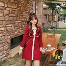 紅色連身裙小香風針織裙秋短款小個子裙子春款【創世紀生活館】