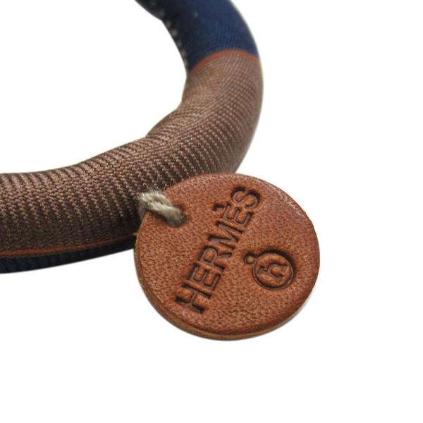 HERMES 愛馬仕 法國限定Petit H 藍X棕色造型絲巾材質T字開口手環  【BRAND OFF】