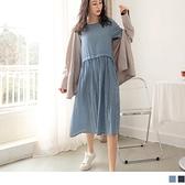 《DA8330》高含棉假兩件拼接條紋抽皺短袖洋裝 OrangeBear