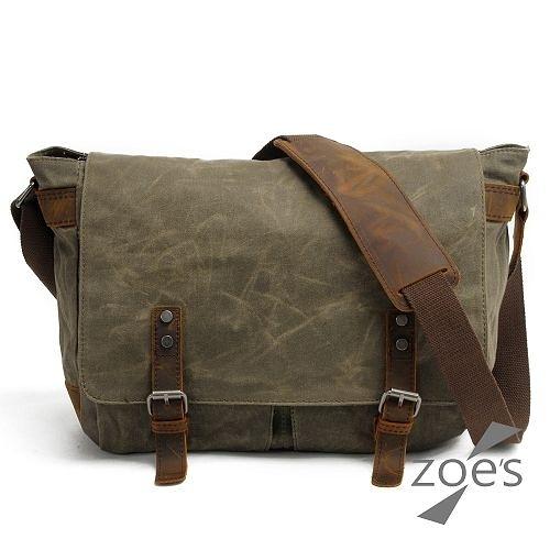 【Zoe s】英倫街頭 帆布配真皮雙口袋大容量掀蓋郵差包(軍綠)