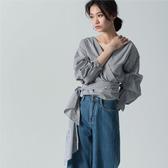 SISJEANS-黑白條紋泡泡袖綁帶襯衫【1819401199】