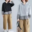 日系顯瘦假兩件下襬格紋上衣-大尺碼 獨具衣格