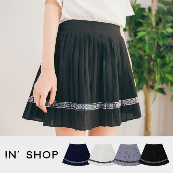 IN' SHOP 短裙-民族風印花滾邊百摺裙 (共4色) 【KT20127】