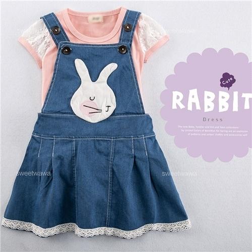 童話兔兔拼布緹花邊牛仔吊帶裙洋裝(250545)★水娃娃時尚童裝★