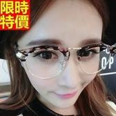 眼鏡架-時尚花色半圓框復古男女鏡框4色67ac29【巴黎精品】