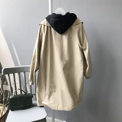 風衣外套-連帽韓版時尚假兩件中長版女大衣2色73oj11【巴黎精品】