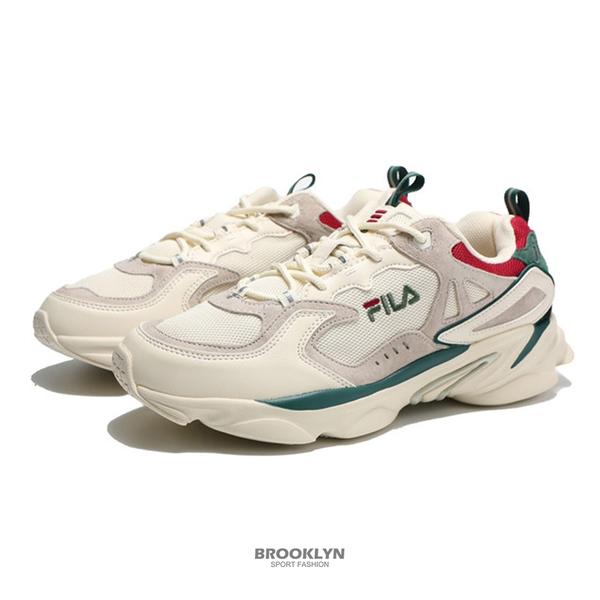 FILA 休閒鞋 老爹鞋 奶油色 綠紅 拼接 復古 SKIPPER 男 (布魯克林) 4J528T736