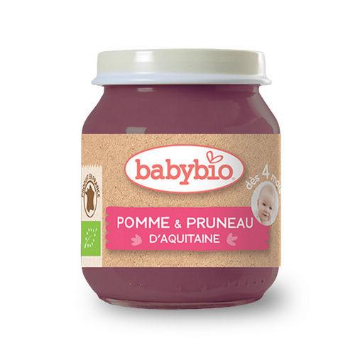 BABYBIO 有機蘋果黑棗鮮果泥/果泥130ml-法國原裝進口4個月以上嬰幼兒專屬副食品