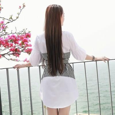 洋裝-七分袖假兩件撞色拼接條紋女連身裙2色73pu122[巴黎精品]