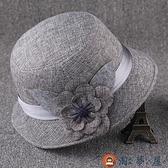 遮陽帽女薄款中年媽媽老太太盆帽奶奶帽禮帽【淘夢屋】