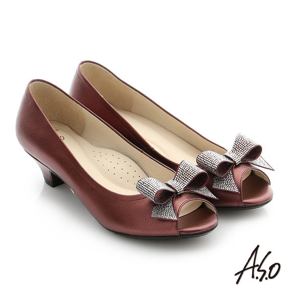 A.S.O 璀璨注目 羊皮水鑽奈米低跟魚口鞋-灰