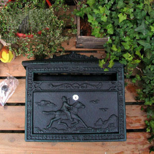 裝飾品鑄鐵工藝品墨綠色壁掛式貴族獵人信報箱郵箱鐵藝信箱