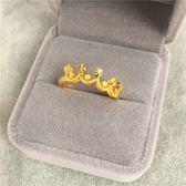 越南沙金皇冠星星戒指女 仿黃金鍍金開口歐幣金戒子