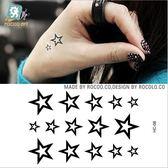 手 背部 防水 紋身 貼紙 男女款 小清新 刺青 空心 五角星 圖案