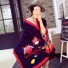 羊毛絨長披肩-民俗風貓頭鷹圖騰設計女圍巾4色73hy10【時尚巴黎】