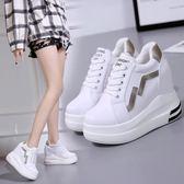 【降價兩天】內增高女鞋春季網紅小白鞋女2019新款百搭韓版厚底鞋10厘米鬆糕鞋