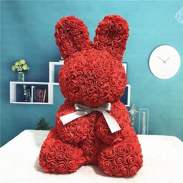 創意PE仿真玫瑰,手工製作玫瑰兔子(不含禮盒),19種顏色,(訂製需3-5天出貨,請先詢問再下單)