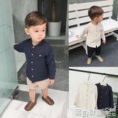 男童襯衫 媽嬰童裝1-3歲兒童春裝文藝小立領棉紗長袖襯衫2歲男寶寶襯衣 寶貝計畫