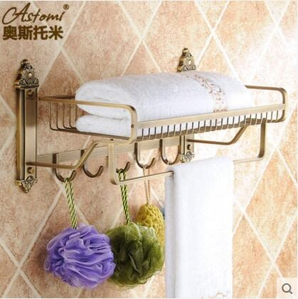 仿古歐式置物架衛生間毛巾架浴巾架全銅