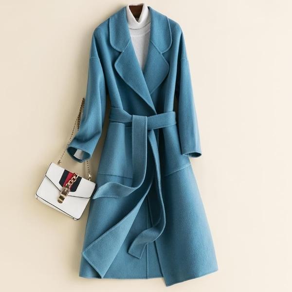 毛呢大衣-羊毛時尚優雅純色綁帶女外套10色73op5【巴黎精品】