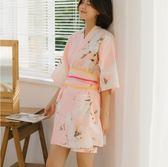 汗蒸服情侶女款全棉開衫和服可愛韓版性感桑拿服安然納米-凡屋
