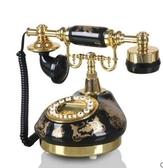 幸福居*TQJ黑色陶瓷燙金田園仿古電話機家用老式座機客廳固定電話機(普通款)