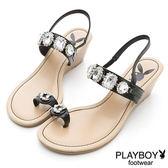 PLAYBOY 璀璨南國~寶石水鑽楔型跟涼鞋-黑(女)